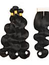 Cheveux Peruviens Ondulation naturelle Trame cheveux avec fermeture 3 paquets avec fermeture 8-26pouce Tissages de cheveux humains 4x4