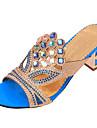 Per donna Finta pelle Estate Quadrato Cristalli Blu / Dorato / Royal Blue / EU41