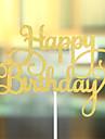 Vârfuri de Tort Nepersonalizat Inimi Hârtie cărți de masă Zi de Naștere Fundă Auriu Temă Plajă / Temă Clasică 1 OPP