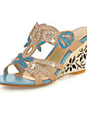 Women's Shoes Synthetic Spring / Summer / Fall Wedge Heel Crystal / Sparkling Glitter Blue / Golden