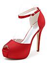 Pentru femei Pantofi Satin Primăvară / Vară Toc Stilat / Platformă Cataramă Argintiu / Albastru / Violet / Nuntă / Party & Seară