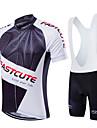 Fastcute Herr Kortärmad Cykeltröja med Haklapp-shorts - Svart Geometrisk Cykel Bib Tights Tröja Klädesset, Snabb tork, Andningsfunktion,