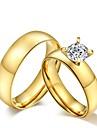 Inele Cuplu / Band Ring - Zirconiu Cubic, Oțel titan Ciucure, Vintage, Modă 5 / 6 / 7 Auriu Pentru Nuntă / Petrecere / Zilnic