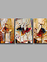 Peint a la main Abstrait Format Horizontal,Moderne Trois Panneaux Toile Peinture a l\'huile Hang-peint For Decoration d\'interieur