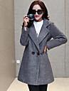 Femei Palton Casul/Zilnic / Plus Size Simplu(ă),Mată Manșon Lung Iarnă Rever Clasic-Gri Mediu Poliester