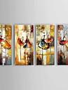 HANDMÅLAD Abstrakt Landskap Stilleben Vertikal, Klassisk Europeisk Stil Moderna Parfymerad Duk Hang målad oljemålning Hem-dekoration Fyra