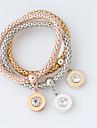 Dam Armband av Remmar - Mode Cirkel Form Silver Brun Rosguld Armband Till Bröllop