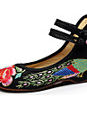 Pantofi pentru femei-Pânză-Toc Plat-Confortabili / Mary Jane-Pantofi Flați-Casual-Negru / Roșu