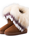 女性用 靴 レザーレット 秋 / 冬 スノーブーツ ブーツ フラットヒール ポンポン Brown / ブルー / ピンク