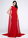 Mermaid / Trumpet Jewel Neck Watteau Train Chiffon Formal Evening Dress with Ruched by TS Couture®