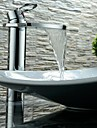 Moderno Arte Decorativa/Retro Conjunto Central Cascada Separado Valvula Ceramica Sola manija Un agujero Cromo, Bano grifo del fregadero