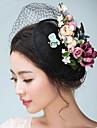 Flax Satin Fascinators Hats Headwear Birdcage Veils with Floral 1pc Wedding Special Occasion Headpiece