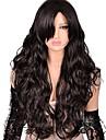 人工毛ウィッグ ナチュラルウェーブ Kardashian スタイル サイドパート キャップレス かつら ダークブラウン ダークブラウン 合成 女性用 ファッション / Bangsと ダークブラウン かつら ロング