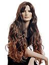Syntetiska peruker Vågigt Syntetiskt hår Brun Peruk Dam Lång Utan lock Brun