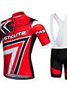 Fastcute Homme Femme Manches Courtes Maillot et Cuissard a Bretelles de Cyclisme - Rouge Velo Ensemble de Vetements, Sechage rapide,