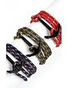 Bărbați Brățări cu Talismane Bratari Wrap Ajustabile Multistratificat costum de bijuterii Nailon Aliaj Line Shape Ancoră Bijuterii Pentru