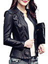 Women\'s Casual/Daily Vintage / Simple Fall / Winter Leather JacketsSolid Stand Long Sleeve Red / Black PU Medium