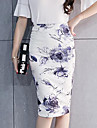 Pentru femei Mărime Plus Size Bodycon Chinoiserie Fuste - Floral, Crăpătură Imprimeu