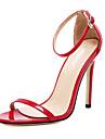Dame Sandale Primăvară Vară Toamnă Iarnă Confortabili Piele PVC Nuntă Rochie Toc Stiletto Cataramă Negru Roșu Alb Migdală Altele