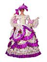 Victoriansk Rokoko Kostym Dam Klänningar Maskerad Festklädsel Fuschia Vintage Cosplay Spets Cotton Lång längd