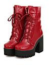Damă Pantofi Imitație de Piele Primăvară Toamnă Iarnă Cizme de Combat Cizme la Modă Cizme Toc Gros Platformă Blocați călcâiul Dantelă