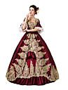 Βικτωριανής Εποχής Rococo Costume Pentru femei Rochii Mascaradă Costume petrecere Rosu Vintage Cosplay Dantelă Bumbac Lungime Podea Lung