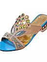 Dame Sandale Vară Confortabili PU Rochie Toc Gros Toc de Cristal Cristal Negru Albastru Verde Altele
