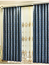 Stångficka Hyls-topp Hällor topp Dubbel veckad Penn veck Två paneler Fönster Behandling Europeisk, Broderi Blomma Sovrum Polyester/Bomull