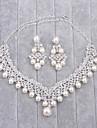Pentru femei Ștras / Imitație de Perle Set bijuterii 1 Colier / 1 Pereche de Cercei - Argintiu Pentru Nuntă