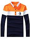 Bărbați Guler Cămașă Polo Casul/Zilnic / Plus Size Vintage / Simplu(ă) / Șic Stradă,Mată / Dungi Manșon Lung Primăvară / Toamnă-Albastru