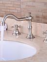 valve ceramice contemporane două mânere trei găuri pentru cadă de baie crom robinet / baie chiuveta
