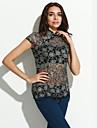 Femei Stand Bluză Elegant Vintage,Floral Manșon scurt Vară Subțire Bumbac