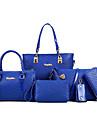 Femei Genți Toate Sezoanele PU Material de construcții Seturi de sac Set de pungi pentru 6 buc Ținte pentru Oficial Alb Negru Fucsia