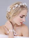 Femei Cristal Tul Imitație de Perle Diadema-Nuntă Ocazie specială Tiare Cordeluțe Flori 2 Piese