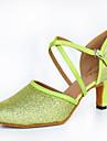 Dam Latinamerikansk Glitter Satäng Läder Högklackade Inomhus Prestanda Utomhus Nybörjare Träning Glitter Spänne Individuellt anpassad