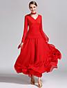 Für den Ballsaal Kleider Damen Leistung Chiffon / Milchfieber Rüschen Langarm Normal Kleid / Neckwear