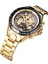 WINNER Heren Skeleton horloge Polshorloge mechanische horloges Automatisch opwindmechanisme Roestvrij staal Goud 30 m Waterbestendig Hol Gegraveerd Lichtgevend Analoog Luxe Vintage - Wit Zwart Goud