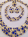 Pentru femei Seturi de bijuterii Inel Coliere Brățară Cercei Design Unic costum de bijuterii La modă Personalizat Africa Cristal Ștras 1