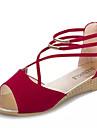 Damă Pantofi PU Vară Confortabili Sandale Toc Jos Vârf deschis Dantelă Pentru Casual Negru Roz trandafiriu Albastru