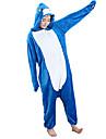 Kigurumi-pyjamas Haj Onesie-pyjamas Kostym Flanell Blå Cosplay För Vuxna Pyjamas med djur Tecknad serie halloween Festival / högtid