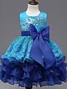 rochie de balet genunchi lungime floare fată rochie - organza fără buzunar gât bijuterie cu aplicație de mii