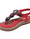 Pentru femei Pantofi PU Primăvară / Vară Confortabili / Noutăți Sandale Plimbare Toc Drept Găuri Rosu / Roz / Migdală