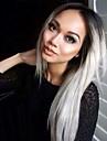 Synthetische Peruecken Glatt Kardashian Stil Kappenlos Peruecke Schwarz Grau Synthetische Haare Damen Gefaerbte Haarspitzen (Ombré Hair) / Afro-amerikanische Peruecke Schwarz Peruecke Mittlerer Laenge