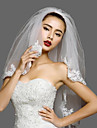 Voal de Nuntă Două Straturi Voaluri de Obraz Voaluri Lungi Până la Cot Margine cu Aplicație de Dantelă Tul Dantelă