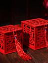 Cubic Lemn Favor Holder Cu Panglici Cutii de Savoare Sticle și Borcane pentru Dulciuri