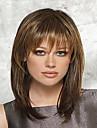 Synthetische Peruecken Glatt Stil Kappenlos Peruecke Braun Braun Synthetische Haare Damen Braun Peruecke Mittlerer Laenge