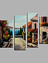 Oil Painting Hand Painted - Landscape European Style Modern Canvas Four Panels