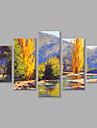 HANDMÅLAD Landskap Vertikal panoramautsikt, Moderna Duk Hang målad oljemålning Hem-dekoration Fem paneler