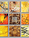 Pictat manual Abstract Pătrat,Modern Stil European Mai Mult De Cinci Panouri Canava Hang-pictate pictură în ulei For Pagina de decorare