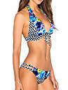 Femei Bikini Femei Cu Susținere Floral Geometrică plunging răscroială Dantelat Polyester